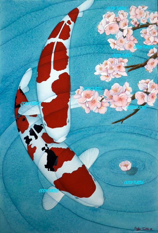 Koi art koi watercolor koi painting cody turtle for Koi artwork on canvas